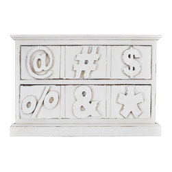 Enchante Accessories Inc - Distressed Wood Cabinet with Drawers & Symbols, Distressed Cream, Symbols - Beautifully distressed wooden cabinet with 3 drawers. Wooden numbers on each drawer. Excellent for storing office supplies, art supplies & books. Place on your desk for easy access to your gadgets and nicknacks. Wonderful in kids rooms and home offices. This desktop organizer keeps your stuff hidden away in style.