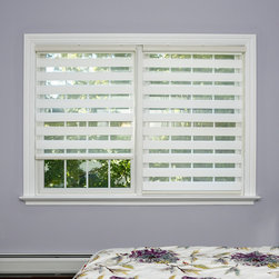 None - Premium Duo-roller White Wood-look Window Shade - Block out unwanted light while maintaining privacy with the help of these premium duo-roller window shades. Made with polyester to look like wood,these white window shades come with all necessary hardware and feature a child-safety tension device.
