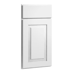 CliqStudios.com - Mendota White Paint Shaker Kitchen Cabinet Sample - Mendota's simple shapes and rich lines make it a perfect fit for any home. The solid wood, full overlay door and the slab drawer front have a matching outside profile. The CliqStudios Mendota door pairs perfectly with stainless appliances, nickel finish hardware, glass subway tile backsplash, modern bar stools, hardwood floors and granite countertops.  Mendota works equally well in an open concept kitchen, galley kitchen, u-shaped kitchen, kitchen island, kitchen peninsula or in a nearby kitchen desk or window seat. Consider coordinating with a variety of recessed lighting, undercabinet task lighting, pendant lighting and other decorative accents.