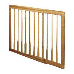 """Evenflo - Home Decor Stair Baby Gate - The Home Decor gate is beautifully crafted design in furniture quality wood to complement your decor. Vertical spindles resemble wood balusters. Convenient one-hand latch release. Hardware mounted, great for the top of a stair. 32"""" high it adjusts to fit widths of 31"""" to 52"""". Dark Oak or Light Oak Finish. Note: Wood screws are provided with all wall-mounted gates for presumed installation into wood framework. Special surfaces such as brick, concrete, drywall or plaster will require different fasteners to achieve a secure installation. We offer Gate Mounting Kits with accessories and fasteners for various installation conditions."""