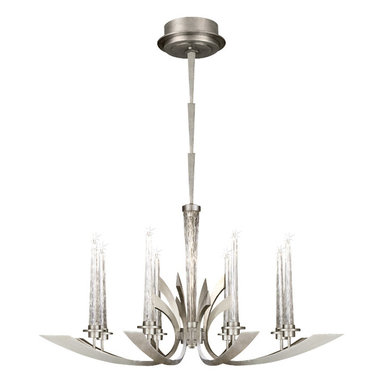 Fine Art Lamps - Crescents Silver Chandelier, 812440ST - A stylish riff on art deco design, this stunning chandelier sports eight crescent-shaped arms fashioned from steel and treated to a silver-leaf finish. Each arm supports a handblown crystal candle fitted with a tiny electric bulb, adding a twinkle of subtle illumination to your dining room.