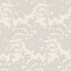 Color Floral Wallpaper, Clay, Swatch - • Vinyl Covered Paper
