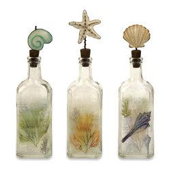iMax - Burton Coastal Glass Bottles, Set of 3 - This set of three coastal bottles feature natural sea inspired creatures adding a splash of color to any nautical decor.