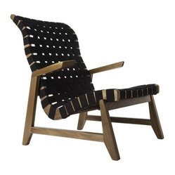 Highback Greenbelt Lounge - No Brass Tacks, Walnut Finish, Black Cotton