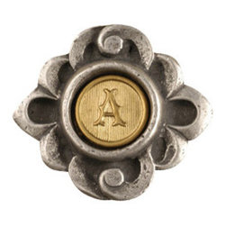 Anne at Home Hardware - Fountain Initial Knob, Antique Bronze - Made in the USA - Anne at Home customized cabinet hardware enables even the most discriminating homeowner to achieve the look of their dreams.  Because Anne at Home cabinet hardware is designed to meet your preferences, it may take up to 3-4 weeks to arrive at your door. But don't let that stop you - having customized Anne at Home cabinet knobs and pulls are well worth the wait!   - Available in many finishes.
