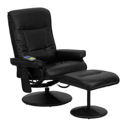 Flash Furniture - Massaging Recliner w Ottoman in Black - Massage controls on recliner and ottoman. Comfortably designed chair. Black leather upholstery. Swivel seat. Leather wrapped base. On/off remote control. Heat control. Five massage modes. Three intensity levels (Low, Medium and Hi). Massages shoulders, lumbar, seat and thighs. Green certified: Yes. Supplier warranty: Our products have a two year warranty for parts. This warrants against defects in manufacturing. If the products are used excessively (more than 8 hours/day), and have excessive weight (over 225 lbs.) applied, the warranty is void. New parts will be sent out, or the item will be replaced at our discretion. Made from foam, leather and metal. Minimal assembly required. Seat: 22 in. W x 19.5 in. D x 19 in. H. Seat thickness: 3 in.. Back: 24 in. W x 27 in. H. Arm height from floor: 22.5 in.. Arm height from seat: 9 in.. Weight capacity: 250 lbs.. Chair: 33 in. W x 29 - 41 in. D x 42 in. H (60 lbs.). Ottoman: 20 in. W x 18 in. D x 20 in. H