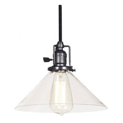 JVI Designs - Union Square Gun Metal Pendant w/ 10-Inch Clear Glass Shade - - 5? of Cable   - Mouth-blown glass shade  - Bulb not included JVI Designs - BKIT-1200-18-S2