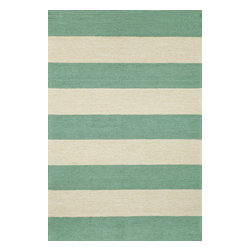 "Trans-Ocean - Rugby Stripe Aqua 42"" x 66"" Indoor/Outdoor Flatweave Rug - This bold geometric pattern is fun yet elegant and adds a modern flare to any Indoor or Outdoor space. Hand Made in India of 100% Synthetic materials, these rugs are easy to clean and durable. The synthetic yarns are hand tufted in a loop pile construction and then hand carved to create a crisp tailored effect while maintaining a casual chunky style."