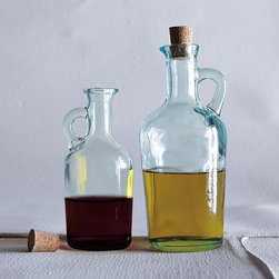 Recycled-Glass Vinegar + Oil Bottles - Rustic cruets for kitchen or table, crafted in Spain of recycled glass and topped with air-tight cork stoppers.