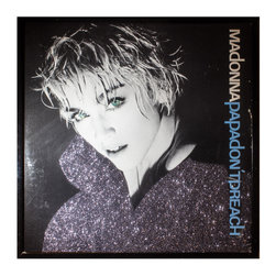 """Glittered Madonna Papa Don't Preach Single - Glittered record album. Album is framed in a black 12x12"""" square frame with front and back cover and clips holding the record in place on the back. Album covers are original vintage covers."""