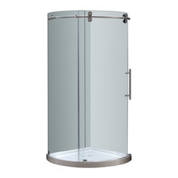 Aston - Aston 40x40x77.5, Completely Frameless Round Shower, Stainless Right Opening - The SEN980 Completely Frameless Round Shower Door Enclosure is a engineering masterpiece that will instantly upgrade the style and feel of your bath. Constructed of durable 8mm ANSI-certified tempered clear glass, 4-wheel industrial chic smooth sliding mechanism, stainless steel or chrome finish hardware, and premium clear leak-seal edge strips, the SEN980 is the optimal, beautiful choice for a corner shower renovation . This model includes the matching 2.5