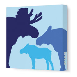 "Avalisa - Animal - Moose Stretched Wall Art, 12"" x 12"", Blue - Put these moose to good use in your child's favorite space. The powerful creatures are symbols of self-esteem and courage — plus, they look pretty mighty and mighty pretty in silhouette as sleek, unframed stretched canvas wall art."