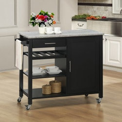 Sunset Trading Calgary Kitchen Cart - Black with Gray Granite - The Sunset Trading Calgary Kitchen Cart - Black with Gray Granite adds plenty of extra storage space to your kitchen dining or entertainment room. Featuring a mobile design with locking wheels this durable piece is sure to be a welcome addition to any dining area. The Calgary cart has a rich black base with a grey granite top. The brushed nickel hardware and towel bar add style function and quality. It provides easy access with shelving for a variety of storage options. There are three open shelves for storage or display a utility drawer for utensils or linens and a large cabinet with a non-adjustable shelf. Dimensions: 41.5L x 19W x 34.75H inches. About Sunset TradingThis product is designed and manufactured by Sunset Trading. Located in Londonderry New Hampshire Sunset Trading creates high quality furniture for bedrooms living and dining rooms. Their furniture features side roller drawer guides four corner English dovetails solids and veneers. Dining rooms feature epoxy resin constructed chairs with metal support brackets which make their chairs 100 times stronger than glued chairs. Rest assured you're making an excellent choice when you purchase a fine furniture item from Sunset Trading.