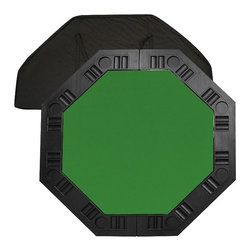 Trademark Global - 8 Player Octagonal Table Top - Comes with a handy carrying case and a molded handle on the table for easy pull-out. 37.25 in. diameter octagonal felt playing surface surrounded by molded plastic cup holders and chip tray perimeter. Pictured in green color. 48.5 in. L x 48.5 in. W x 0.63 in. H (18 lbs.)It is an 8 player position poker table complete with individual trays for poker chips and a drink holder. The best thing about this table top is its convenience. It is very easy to travel with as it fits into the trunk of a car or the back seat. It's not very heavy for travel but it is solid enough for durable use. Folding the table in half reduces the size to about 2 ft. x 4 ft. for easy storage in a closet or under a bed.