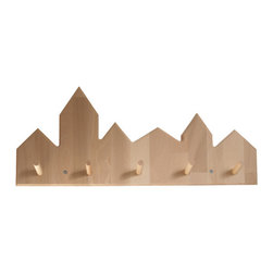 Coat Rack City - Pegs in the city! I love the idea of lining up two of these beechwood coat racks next to each other to make a pretty little cityscape on the wall.