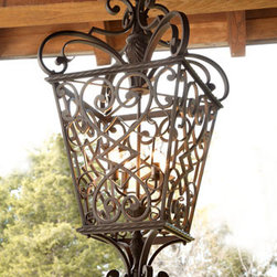 """French Quarter"" Lantern - Absolutely stunning, use the ""French Quarter"" Lantern  any place you would like to make an impressive statement.  This large lantern is designed with beautiful scrolls, twisted-rope trim, and finials created in a leaf-motif.  It is handcrafted of aluminum and hand-painted in a marcado-black finish."