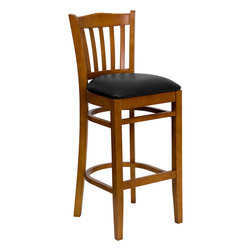 Flash Furniture - Flash Furniture Hercules Series Cherry Finished Vertical Slat Back Barstool - Wood bar Stools can make a lasting impression when setting up seating from intimate to casual. The commercially constructed stool makes it ideal in restaurants, Hotels, Pool Halls and Lounges. additionally bar stools can really give you additional functionality and enjoyment in your home. To make your guests even more comfortable the seat is padded in a durable, easy to clean, vinyl upholstery. The tubular foot rest not only supports your feet, but acts as an additional reinforcement that helps secure the legs. The solid beech hardwood construction makes this product very durable to provide years of use. With all of its attractive features this stool will provide the perfect complement to any commercial or residential setting. [XU-DGW0008BARVRT-CHY-BLKV-GG]
