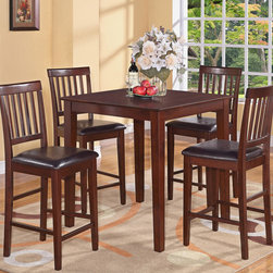 """East West Furniture - 5Pc Vernon Pub, Counter Height Square Table & 4 Faux Leather Seat - 5Pc Vernon Pub, Counter Height Square Table & 4 Faux Leather Upholstered Seat; Mahogany Vernon table & chairs sets will grace any dinette, kitchen, or dining room.; Vernon table & chairs are excellent for restaurants as these sets are both pub height and counter height.; Sleek tapered-legged chairs are a marvelous fit for pub height tables or as alternatives to bar stools.; Classy square table is counter height and will fit perfectly in any kitchen, dining room, dinette, or restaurant.; Sturdy seats upholstered in microfiber are available and perfect for home use or bar stools.; Weight: 138 lbs; Dimensions: Table: 36""""L x 36""""W x 36""""H; Stools: 18.5""""L x 17""""W x 42""""H"""