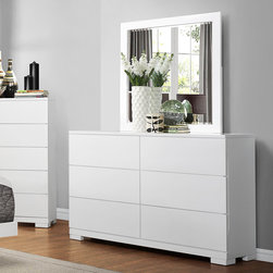 Homelegance - Homelegance Galva 6 Drawer Dresser w/ Mirror in Glossy White - The bright white glossy finish of the Galva Collection gets a pop of color from the dark brown linen insert of the headboard. Contemporary styling enhances the look of each piece of this bold bedroom offering, providing you with a modern canvas to create your perfect bedroom. Drawers extend from recessed, side placed, finger pulls. - 2266W-5-MR.  Product features: Galva Collection; Contemporary Style; Dovetailed Drawers; Ball Bearing Side Glide; White High-Gloss Finish. Product includes: Dresser (1); Mirror (1). 6 Drawer Dresser w/ Mirror in Glossy White belongs to Galva Collection by Homelegance.