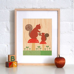 Petit Collage Squirrel Baby - Print on Wood - Squirrel Baby - Print on Wood
