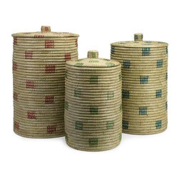 Afton Sea Grass Storage Baskets - Set of 3 - The simple style of this set of three sea grass lidded baskets coordinates effortlessly in a variety of room settings.