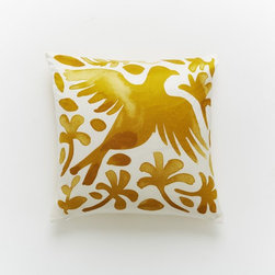 Paulina Reyes Silk Bird Pillow Cover, Yellow - West Elm has done an excellent job of partnering with artisans to create unique collections with hand-crafted appeal. I love these silk pillows, which remind me of traditional Otomi textiles.