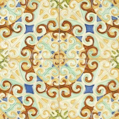 """Glass Tile Oasis - Remolinos 6"""" x 6"""" Brown 6"""" x 6"""" Deco Tiles Glossy Ceramic - All ceramic tiles are hand painted. Glazed thickness will vary from tile to tile, resulting in color variation. Hand-Painted Ceramic tiles will craze and crackle over time, which is intentional and a desired effect."""