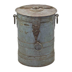 Pre-owned Antique Iron Barrel Side Table - One-of-a-Kind grain storage barrel with lid and original painted finish. Ideal to use as an end table indoors or outdoors.