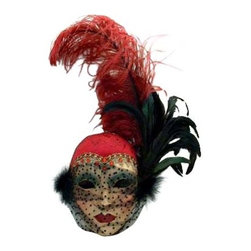 Si Lucia - Si Lucia Lady 30'S Plume Mask - Si Lucia Lady 30'S Plume Mask  -  Created By Premiere Venetian Mask Maker Franco  -  Made using the exact process used in Venice since 1436  -  Quality and design are unsurpassed  -   Only the finest materials are used  -  Made by hand in Italy each mask comes With  a Si Lucia hangtag  -  Can Be Worn  -  Perfect For Home Decor