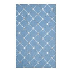 Safavieh - Isaac Mizrahi by Safavieh Island Lattice Blue Wool Rug (5' x 8') - An azure blue background with white trellis motif defines the Island Lattice design from Isaac Mizrahi New York Collection Rugs.