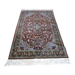 5 x 8 Silk Tabriz Rug - A tabriz rug is a type in the general category of Iranian Carpets from the city of Tabriz.  It is one of the oldest rug weaving centers and makes a huge diversity of types of carpets.  Tabriz has one of the most diverse displays of designs from medallion, Herati/Mahi, and Mini Brothers.