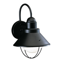 BUILDER - BUILDER Seaside Lodge/Country/Rustic/Garden Outdoor Wall Sconce X-KB2209 - A pure, Painted Black finish draws attention to the crisp lines of the conical shape and curved cage which houses a single light bulb on this Kichler Lighting outdoor wall sconce from the Seaside Collection.