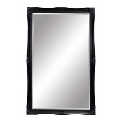 Bassett Mirror - Gloss Black Floor Mirror - Glossy Black - Rectangle Leaner. Measures: 55 in. W x 79 in. H. Weight: 97 lbs