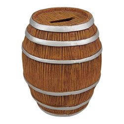 Hand Painted Whiskey Barrel Piggy Bank Money Coin - This funny round wooden barrel cask resin money bank makes a great gift for wine or whiskey fans. The cask measures 5 inches tall, 4 inches in diameter. The bank empties via a pull-off plastic piece on the bottom. It is hand-painted, an looks great with any decor.