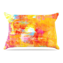 """Kess InHouse - Ebi Emporium """"Off The Grid"""" Orange Rainbow Pillow Case, Standard (30"""" x 20"""") - This pillowcase, is just as bunny soft as the Kess InHouse duvet. It's made of microfiber velvety fleece. This machine washable fleece pillow case is the perfect accent to any duvet. Be your Bed's Curator."""