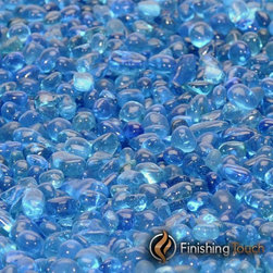 """Finishing Touch Products - 8 Pound Container 1/4"""" Electric Blue Glass Pebbles - Color: Electric Blue"""