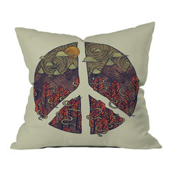 DENY Designs - DENY Designs Hector Mansilla Peaceful Landscape Throw Pillow - Wanna transform a serious room into a fun, inviting space? Looking to complete a room full of solids with a unique print? Need to add a pop of color to your dull, lackluster space? Accomplish all of the above with one simple, yet powerful home accessory we like to call the DENY throw pillow collection! Custom printed in the USA for every order.
