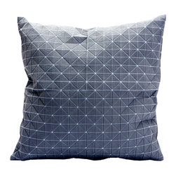 Medium Origami Throw Pillow Cover in Gray - Here's a pillow that will launch you into a Zen-like meditative state. The cover's geometric pattern, texture, and unique three-dimensionality make it a unique surface on which to rest your head. The cover is conveniently machine washable and gives your bedroom or living room throw pillow mashup a shakeup. Part of Mika Barr's 3-D textile collection, its fabric folds, fractures, and turns in all three dimensions to make a new category of design.