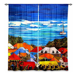 """DiaNoche Designs - Window Curtains Unlined - Patti Schermerhorn Colors of St. Martin - DiaNoche Designs works with artists from around the world to print their stunning works to many unique home decor items.  Purchasing window curtains just got easier and better! Create a designer look to any of your living spaces with our decorative and unique """"Unlined Window Curtains."""" Perfect for the living room, dining room or bedroom, these artistic curtains are an easy and inexpensive way to add color and style when decorating your home.  The art is printed to a polyester fabric that softly filters outside light and creates a privacy barrier.  Watch the art brighten in the sunlight!  Each package includes two easy-to-hang, 3 inch diameter pole-pocket curtain panels.  The width listed is the total measurement of the two panels.  Curtain rod sold separately. Easy care, machine wash cold, tumble dry low, iron low if needed.  Printed in the USA."""