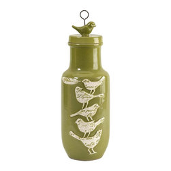 """Adelaide Medium Script Birdy Jar with Lid - Towering bird silhouettes feature embossed script typography elements over a medium green bodied lidded jar. (16""""H x 6""""D)"""