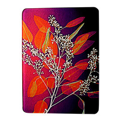 Dr. Paula Fontaine/ Radiant Art Studios (RAS) - X-Ray Photograph Glass Cutting Board with Leaves Design - 12 x 15 Tempered glass cutting board is adorned with an  X-Ray photograph of leaves.    .  This board is dishwasher safe.  Rubber feet protect surfaces.  The designs are created by surgeon, Dr. Paula Fontaine by enhancing black and white x-ray images with color.   May be used as trivet or serving platter as well.