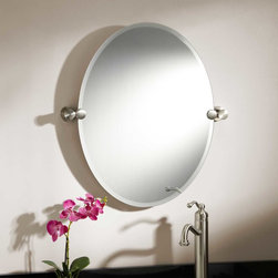 "24"" Prague Oval Tilting Mirror - The 24"" Prague Oval Tilting Mirror brings simple luxury to your decor. This lovely, oval-shaped mirror tilts up and down to reflect any height."