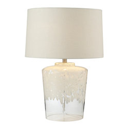 Dimond Lighting - 1-Light Table Lamp in White with Clear - Dimond Lighting 979005 1-Light Table Lamp in White with Clear. Flurry frit well boutique lamp.