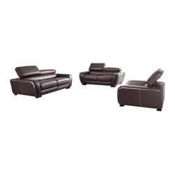 ESF - ESF 2750 Brown Top Grain Italian Leather 3 PieSofa Set With Adjustable Headrests - The ESF 2750 sofa set is a great addition for any living room that needs a touch of modern design. This sofa set comes upholstered in a beautiful brown top grain Italian leather. High density foam is placed within the cushions for added comfort. Each piece features adjustable headrests for an extra touch of relaxation. Only solid wood products were used when crafting the frame making the sofa set a very durable set.