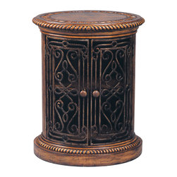 Ambella Home - Villa de Midici Oval Door Cabinet - Italian history is alive and well and living in this de' Medici-inspired cabinet. Keep your most important things in this wonderful storage cabinet with forged iron, beaded sides and a hand-tooled leather top. The richness of the 17th century is at your fingertips.
