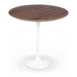 Stilnovo Walnut Tulip Side Table - The Tulip side table features an American walnut natural color plywood top supported by a white-coated aluminum base.