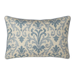 """Jane Wilner Designs - Jane Wilner Designs Blue Damask Pillow, 14"""" x 21"""" - Damask accessories make the blue tones pop in these Jacobean floral bed linens while a tailored dust skirt in solid camel grounds the look. From Jane Wilner Designs. All of linen/rayon unless otherwise stated. 20""""Sq. pillow and platform dust skirts w..."""