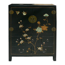 Golden Lotus - Chinese Black Veneer Leather Flower Side Table Cabinet - This is a side table one shelf and five drawers. The surface has graphic of oriental flower.