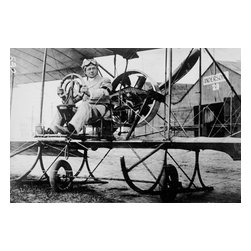 Paul Peck Commercial Aviator Print - In Gyro Tye Plane, sponsored by Berliner at Mineola, NY. Created by Harris & Ewing in 1911 on glass plate negative at 5 x 7 in. or smaller.