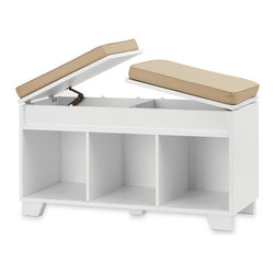 Real Simple - Real Simple Split-Top Bench Storage Unit, White - I love how this split-top storage bench offers tons of storage space not only under the seat cushions, but also in the three cube compartments below. It's great for any room.